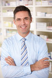 Portrait UK pharmacist at work Royalty Free Stock Images