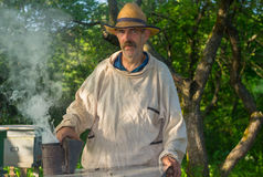 Portrait of Ukrainian bee-keeper. At work place Royalty Free Stock Images