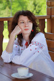 Portrait of ukrainian girl in national chemise Stock Photo