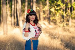 Portrait ukrainian woman in national clothes on Royalty Free Stock Photos