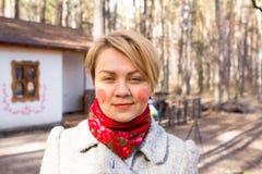 Portrait of ukrainian woman with rosy cheeks Stock Photos