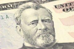 Portrait Ulysses-S Grant stellen auf des DollarscheinMakro- US fünfzig oder 50, Geldnahaufnahme Vereinigter Staaten gegenüber Stockbilder