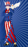 Portrait of Uncle Sam with Bird. Conceptual Drawing Art of Cartoon Old Uncle Sam Character with Bird Vector Illustration vector illustration
