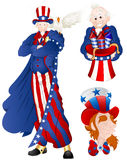Portrait of Uncle Sam Vector Illustration. Vector Illustration of Patriotic Cartoon Uncle Sam Characters Portraits royalty free illustration