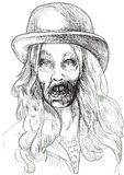Portrait of an undead 1. Zombie beauty Sioux enjoys singing about death. Vector image description: Hand drawing accurately converted to vector, outlines in black vector illustration