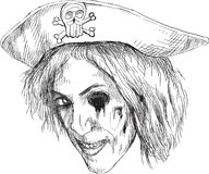 Portrait of an undead 14. Eye gouge zombie pirate. Vector description: Hand drawing accurately converted to vector, outlines in black and gray colors stock illustration