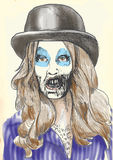 Portrait of an undead 2. Zombie beauty Sioux enjoys singing about death. Vector image description: Hand drawing accurately converted to vector royalty free illustration