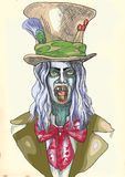 Portrait of an undead 8. Screaming spooky clown. Hand drawing into vector. Editable in 4 layers. Number of colors in each layer: no more than sixteen. White royalty free illustration
