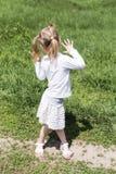 Portrait unfolded back child Stock Photography