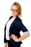 Portrait of unhappy business girl with glasses. Stock Images