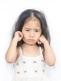 Portrait of  unhappy little girl. Portrait of  unhappy little girl  on a white background Royalty Free Stock Photos