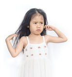 Portrait of  unhappy little girl. Portrait of  unhappy little girl  on a white background Royalty Free Stock Photo