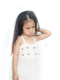 Portrait of  unhappy little girl. Portrait of  unhappy little girl  on a white background Royalty Free Stock Image
