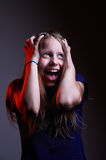 Portrait of unhappy screaming teen girl Stock Photography