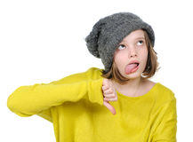 Portrait of unhappy teenage girl showing gesture. `thumbs down Royalty Free Stock Images
