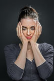 Portrait of a unhappy young woman Stock Images