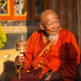 Portrait of unidentified Buddhist monk near stupa Boudhanath Royalty Free Stock Photography