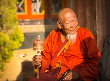 Portrait of unidentified Buddhist monk near stupa Boudhanath. Royalty Free Stock Photography