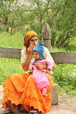 Portrait of an unidentified gipsy woman with her baby Stock Image