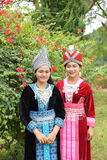 Portrait of Unidentified H'mong girls wearing traditional dress Stock Photo