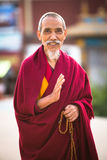Portrait of unidentified monk circle Boudhanath. Stock Photo