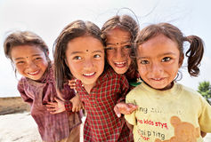 Portrait of unidentified playful little Nepalese girls Stock Images