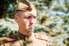 Portrait of unidentified re-enactor dressed as World War II Soviet russian soldier Royalty Free Stock Photography