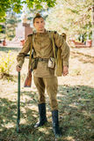 Portrait of unidentified re-enactor dressed as World War II Soviet Russian soldier Royalty Free Stock Images
