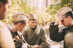 Portrait of unidentified re-enactor dressed as World War II Soviet Russian Soldier Stock Images