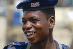 Portrait of unidentified Yemeni military man smiling in Aden, Yemen. Royalty Free Stock Photos