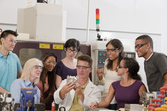 Portrait of university engineering lab demonstrati Stock Photo