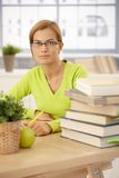Portrait of university girl at home Royalty Free Stock Image