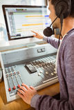 Portrait of an university student mixing audio Royalty Free Stock Photos