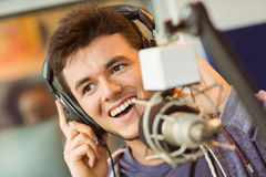 Portrait of an university student recording audio Royalty Free Stock Photos