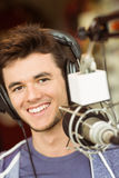 Portrait of an university student recording audio Stock Photography