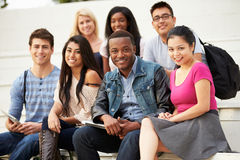 Portrait Of University Students Outdoors On Campus Stock Photo
