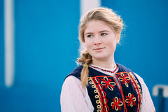 Portrait of unknown beautiful young woman girl in national folk Royalty Free Stock Photos