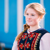 Portrait of unknown beautiful young woman girl in national folk Stock Image