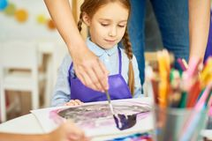 Little Girl in Art Class royalty free stock photography