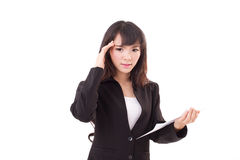 Portrait of upset, angry, negative, frustrated asian business woman. Executive with hand holding document, looking at camera Royalty Free Stock Photos