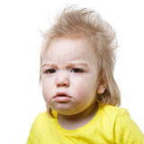 Portrait of an upset baby isolated Stock Photography