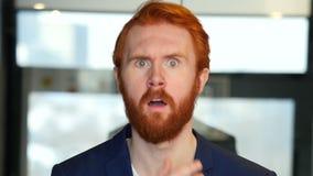 Portrait of Upset Businessman in Shock. Designer , young man , handsome stock video