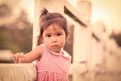 Portrait of upset child in the farm Royalty Free Stock Images
