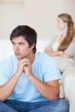 Portrait of an upset couple after an argument Stock Image
