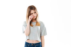 Portrait of an upset girl crying and looking away Stock Photos