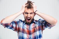 Portrait of upset man screaming Royalty Free Stock Photos