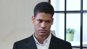 Portrait of Upset Sad Black Businessman. Young creative designer , good looking stock video footage
