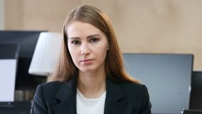Portrait of Upset Sad Woman in Office stock video footage