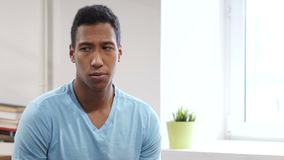 Portrait of Upset Sad Young Black Man stock footage