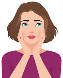 Portrait of upset unhappy young woman or girl vector illustration
